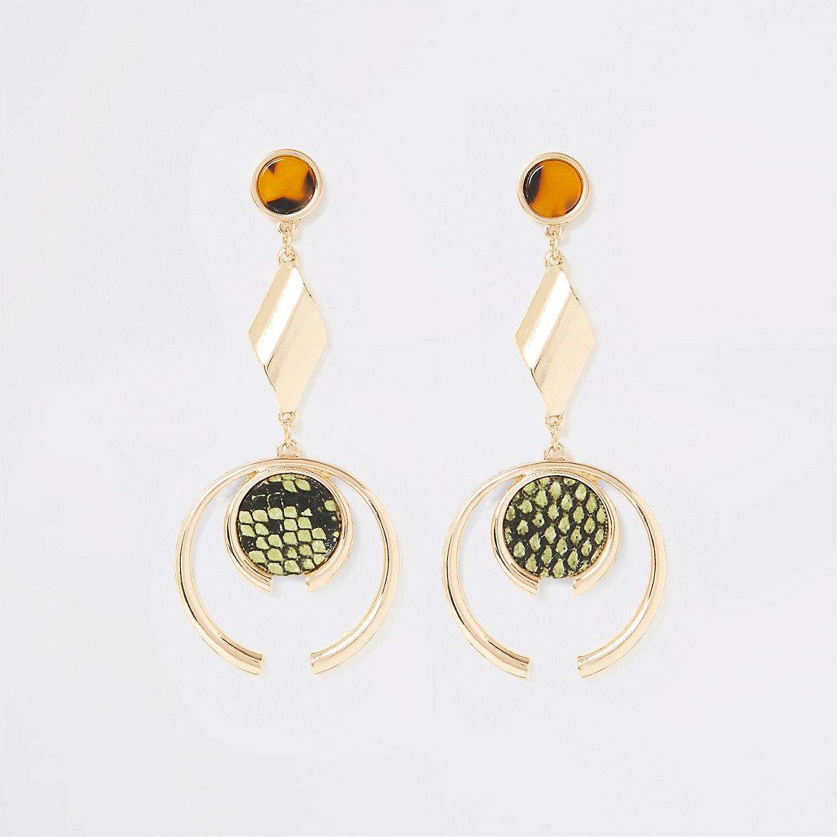 Gold colour animal print drop earrings