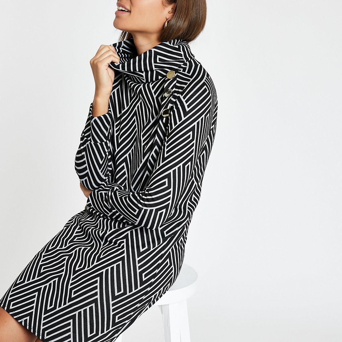 Black geo print roll neck swing dress
