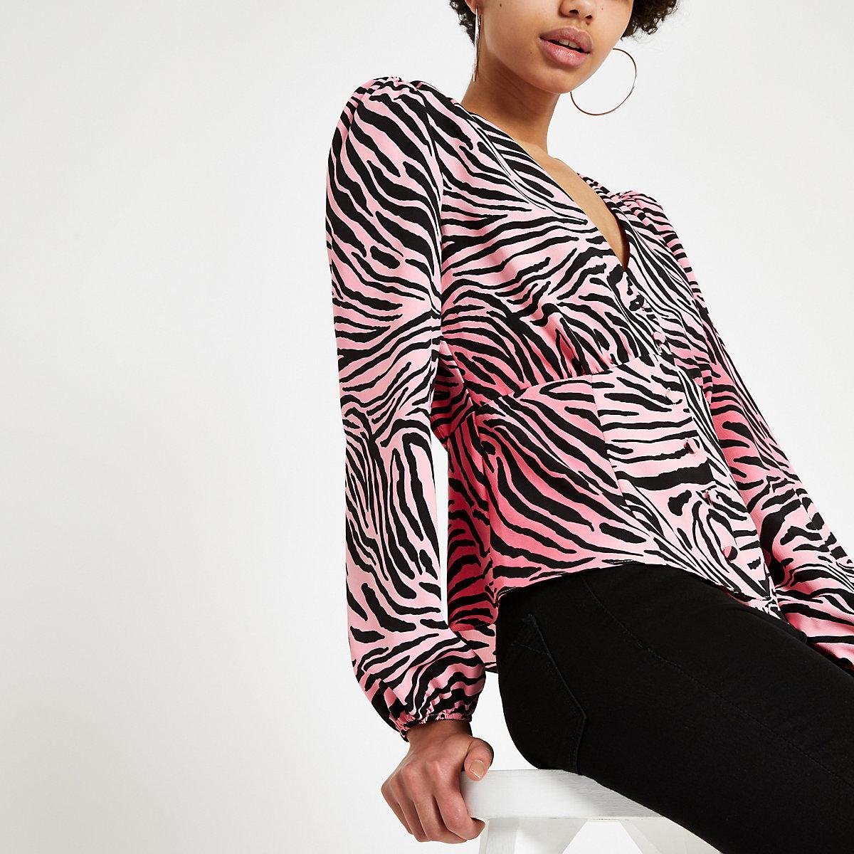 Pink zebra print long sleeve tea top
