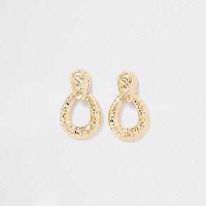 Gold colour battered door knocker earrings