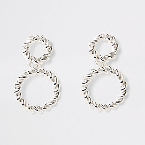 Silver color twist hoop drop earrings