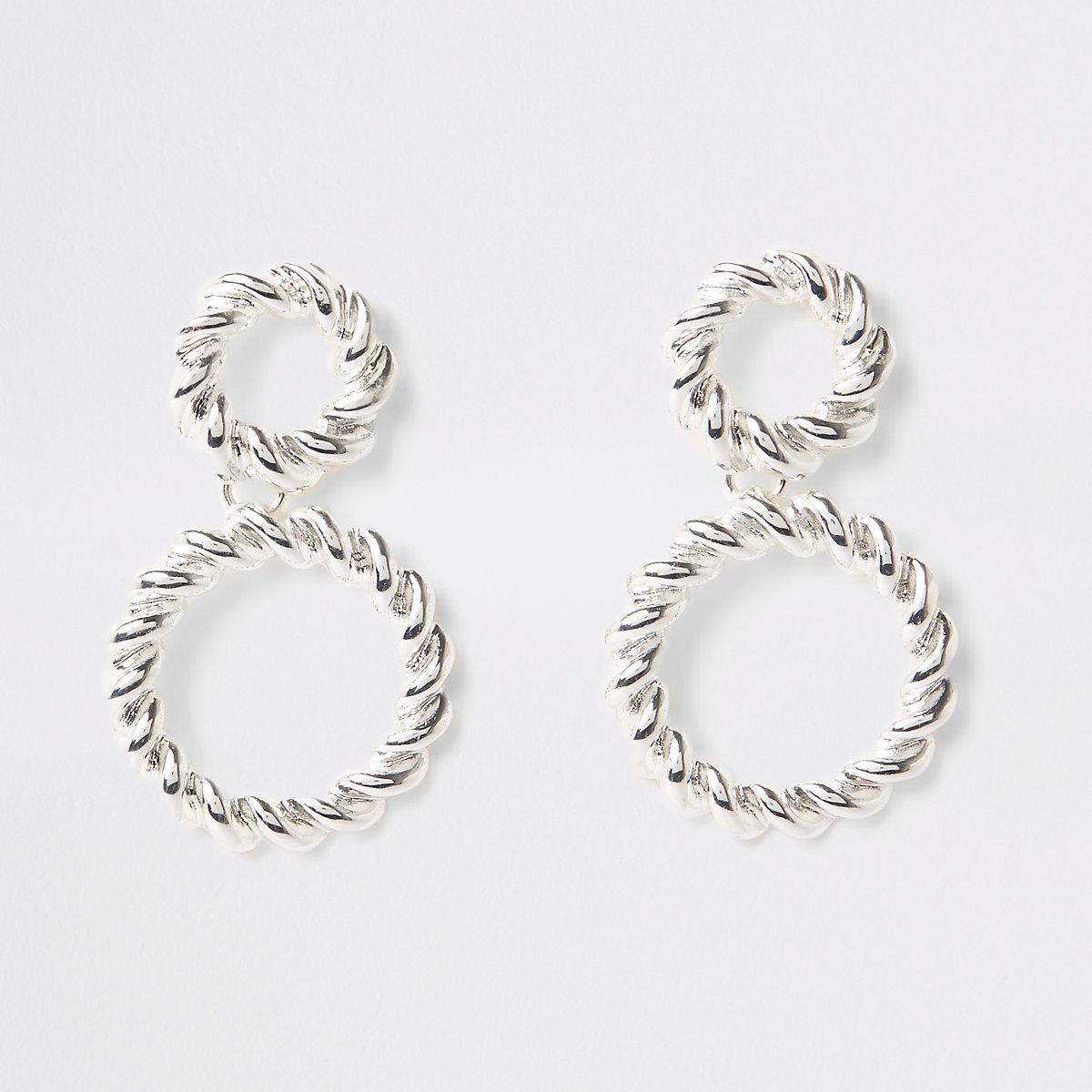 Silver colour twist hoop drop earrings