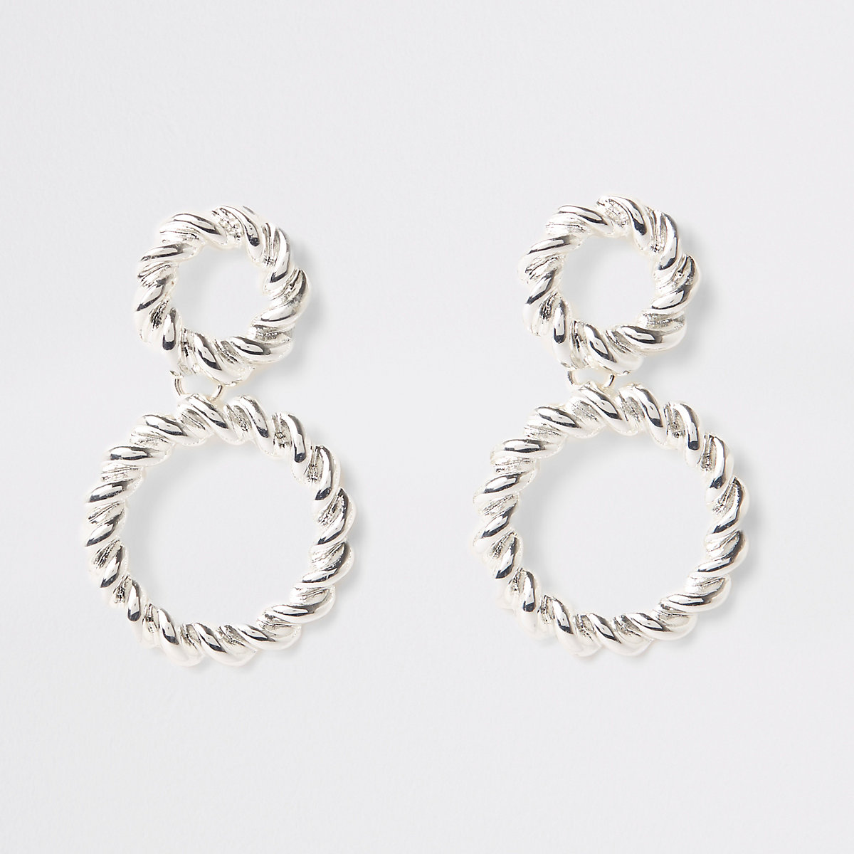 Silver color twist hoop drop earrings