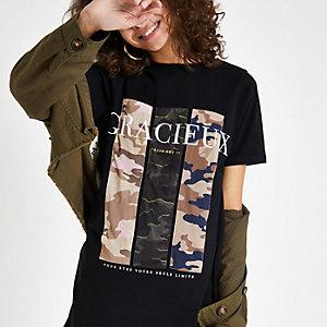 Zwart T-shirt met 'gracieus'- en camouflageprint