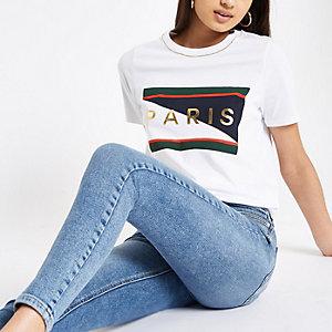 White 'Paris' rhinestone trim T-shirt