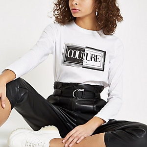 White 'couture' long sleeve top