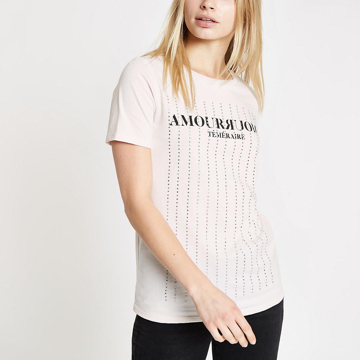 Cream rhinestone embellished T-shirt