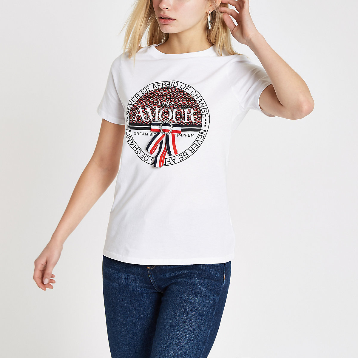 White 'Amour' geo print bow trim T-shirt