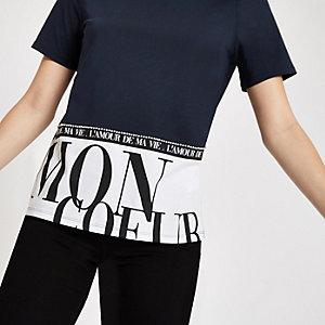 """Marineblaues T-Shirt """"Mon Coeur"""""""