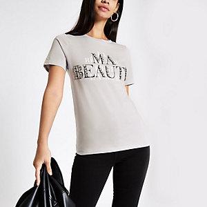 Grijs verfraaid T-shirt met 'Ma beaute'-print