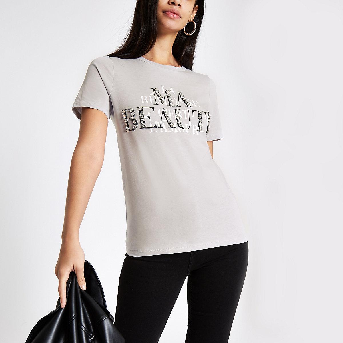 Grey 'Ma beaute' embellished T-shirt