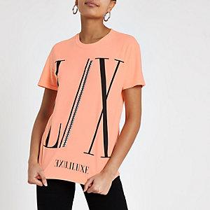 Orange 'LX' luxe print boyfriend T-shirt