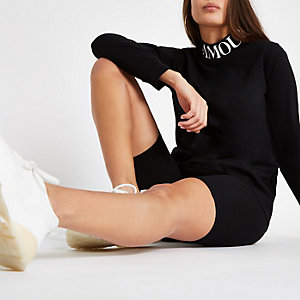 Black 'L'amour' high neck long sleeve top