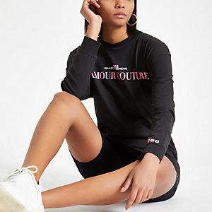 Zwarte lange top met L'amour Couture'-print