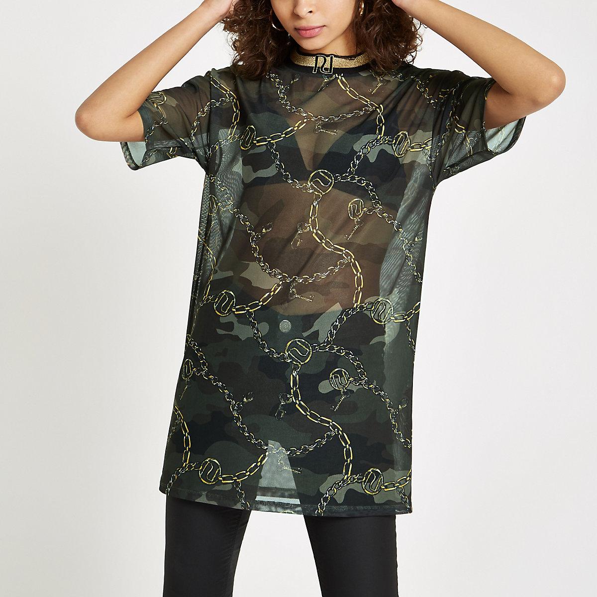 Kaki mesh hoogsluitende T-shirt