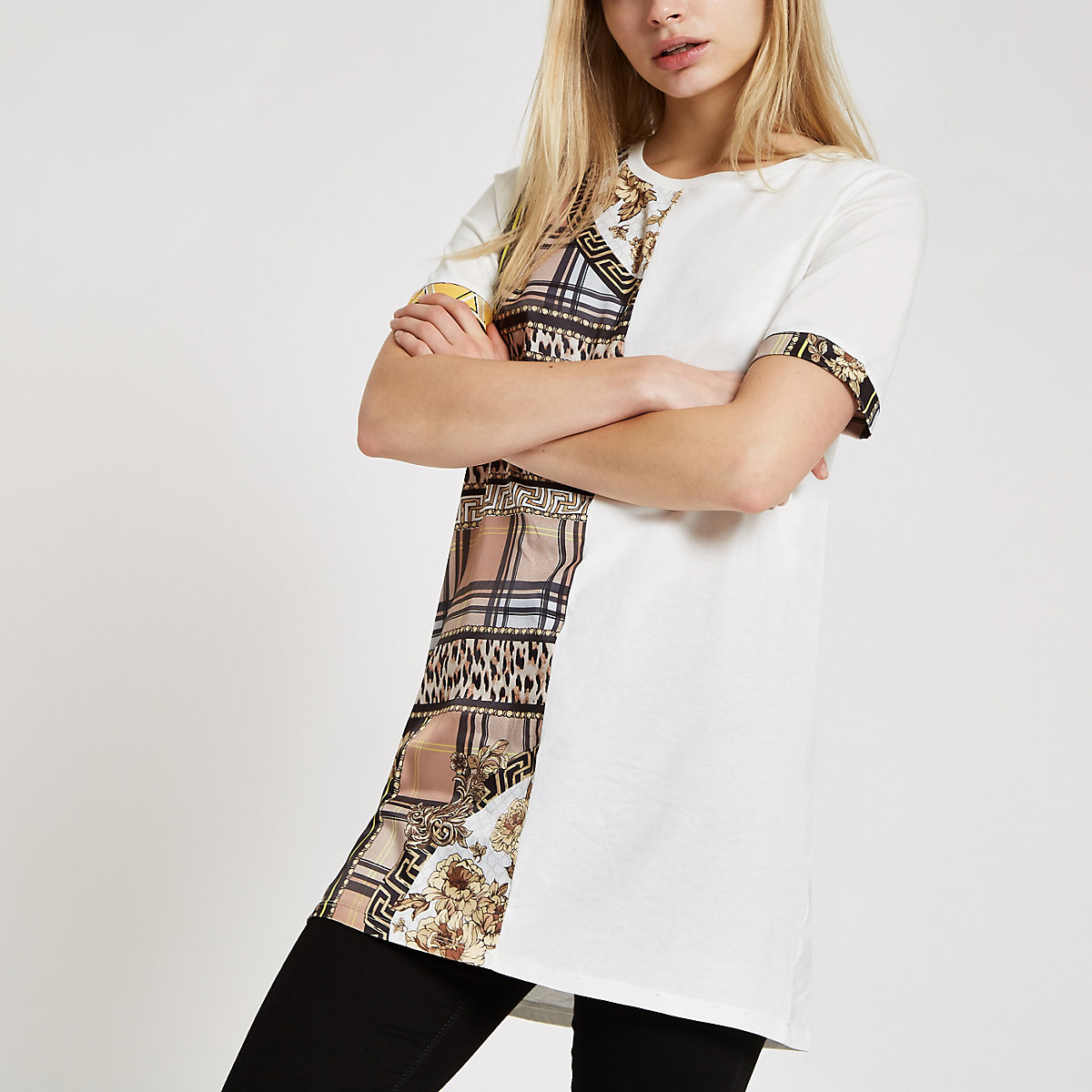 White scarf print trim loose fit T-shirt
