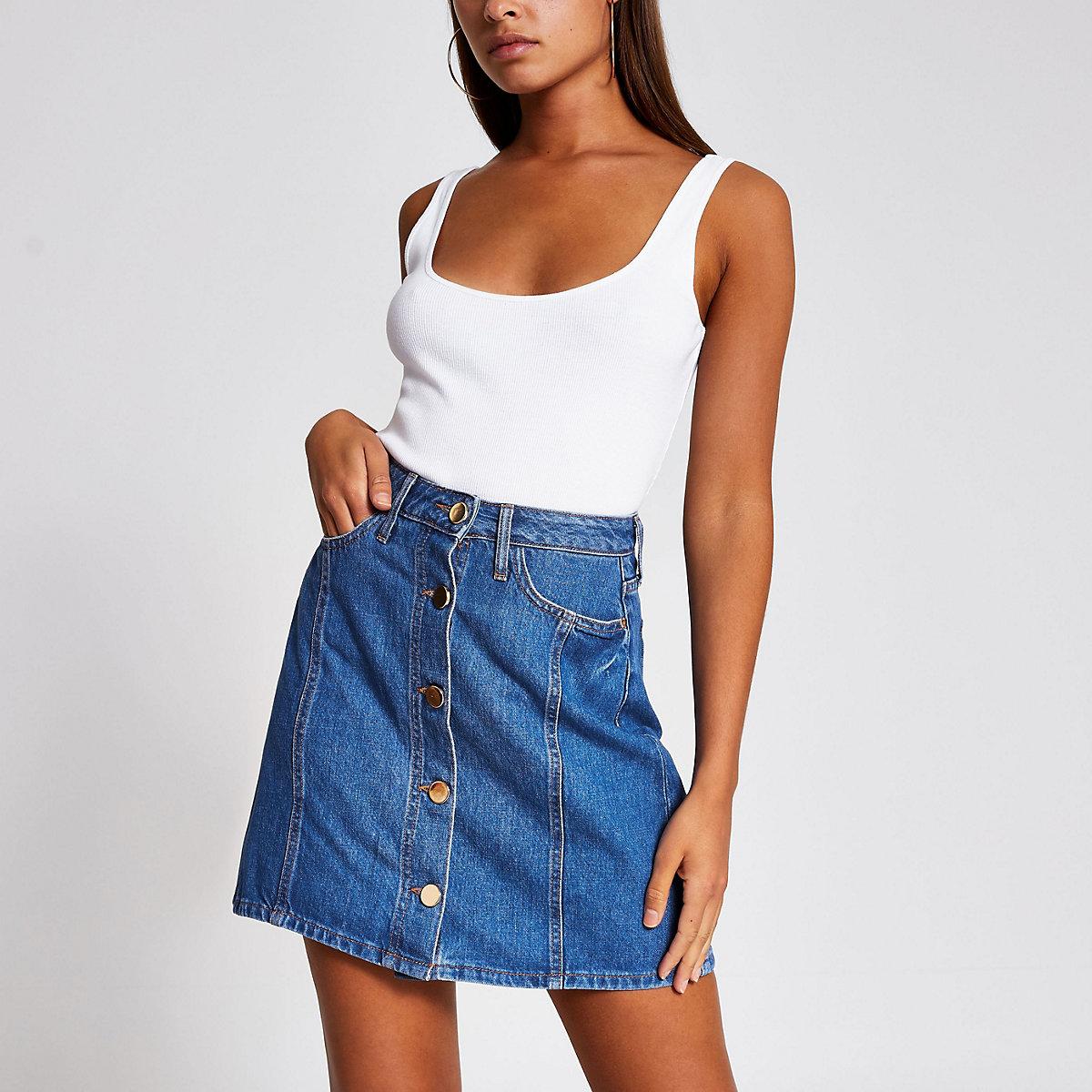 Blue button front denim mini skirt