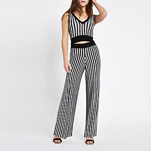 Petite black stripe metallic knit trousers 1c5d536099b4e