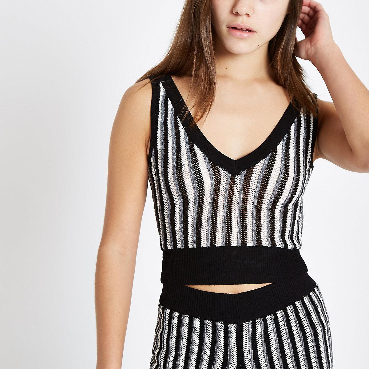 Petite black stripe metallic knit crop tank