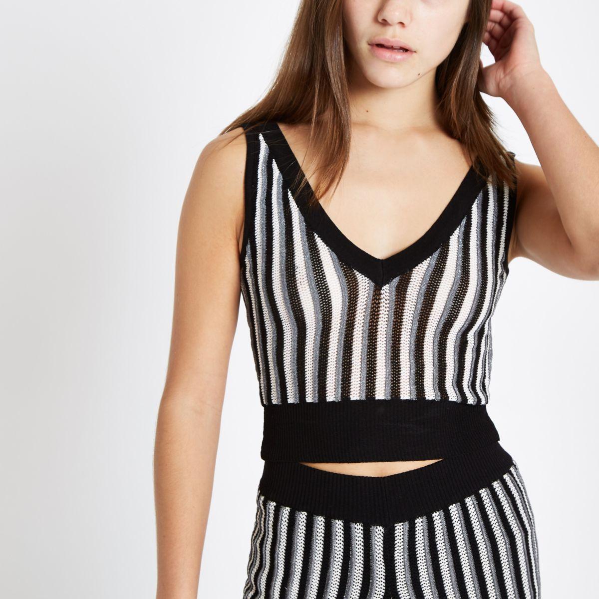 Petite black stripe metallic knit crop vest