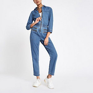Mid blue denim zip boilersuit