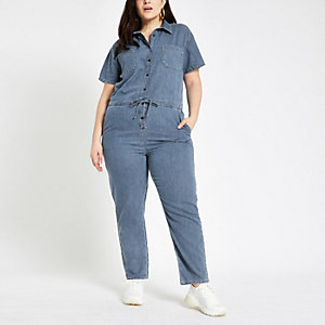 Plus – Blauer Jeans-Overall