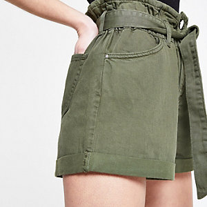 Petite khaki paperbag denim shorts