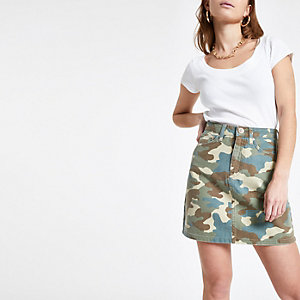 Petite green camo print denim mini skirt