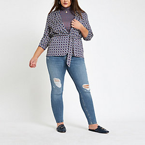 Plus mid blue Alannah wash skinny jeans