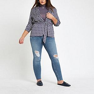 RI Plus - Alannah - Middenblauwe wash skinny jeans