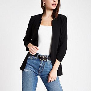 280b0c55799 Plus black stripe blazer · Black long sleeve soft blazer