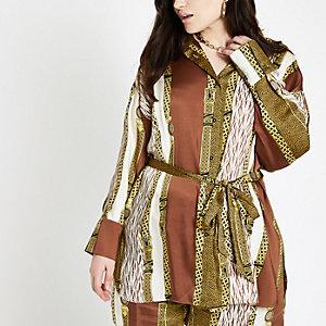 RI Plus - Bruin overhemd met print en strikceintuur