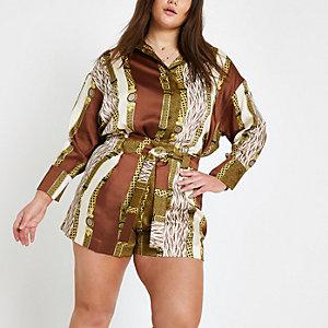 Plus – Braune Shorts mit verschiedenen Prints