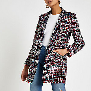 Blazer long en maille bouclée à carreaux rouge