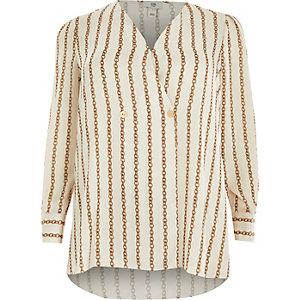 7f7063f25d2 Plus white chain print wrap blouse