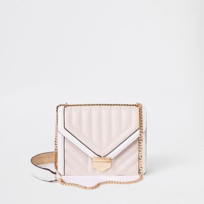 White Quilted Cross Body Bag by River Island