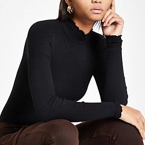 Black frill turtle neck top
