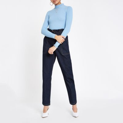 Light Blue Frill Turtle Neck Top by River Island
