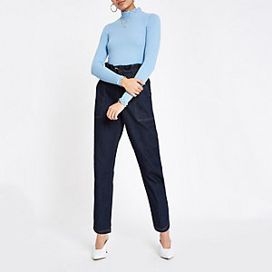 Light blue frill turtle neck top