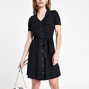 Petite black ribbed utility shirt dress