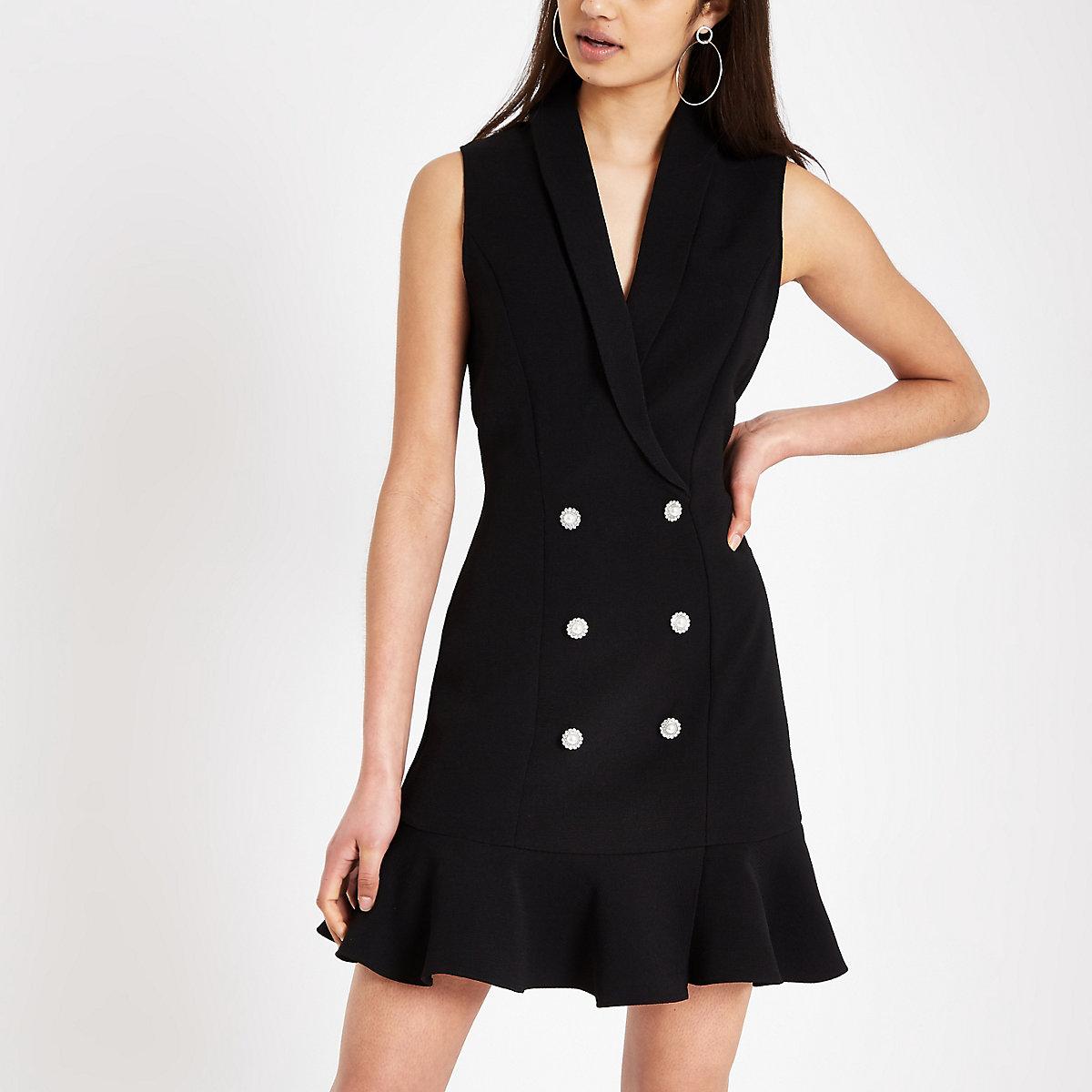 Black diamante embellished bodycon tux dress