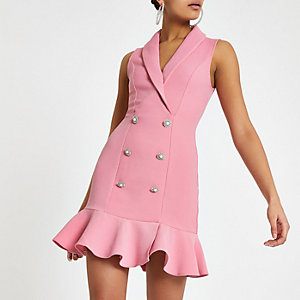 Pink diamante embellished bodycon tux dress
