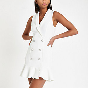 White diamante embellished bodycon tux dress