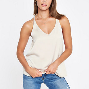 Light grey cowl back cami top