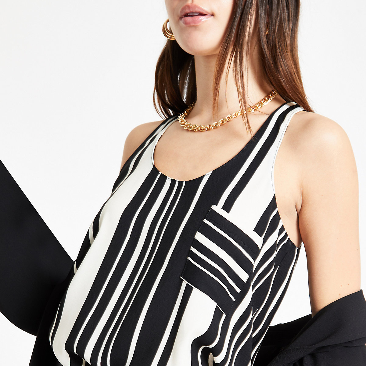Black stripe loose fit tank top