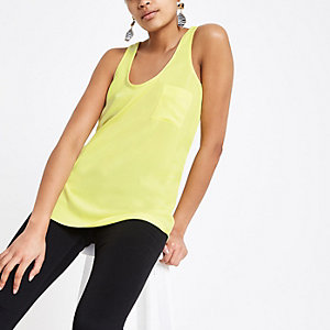 Bright yellow chest pocket tank top
