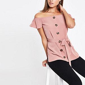 Top Bardot rose noué sur le devant