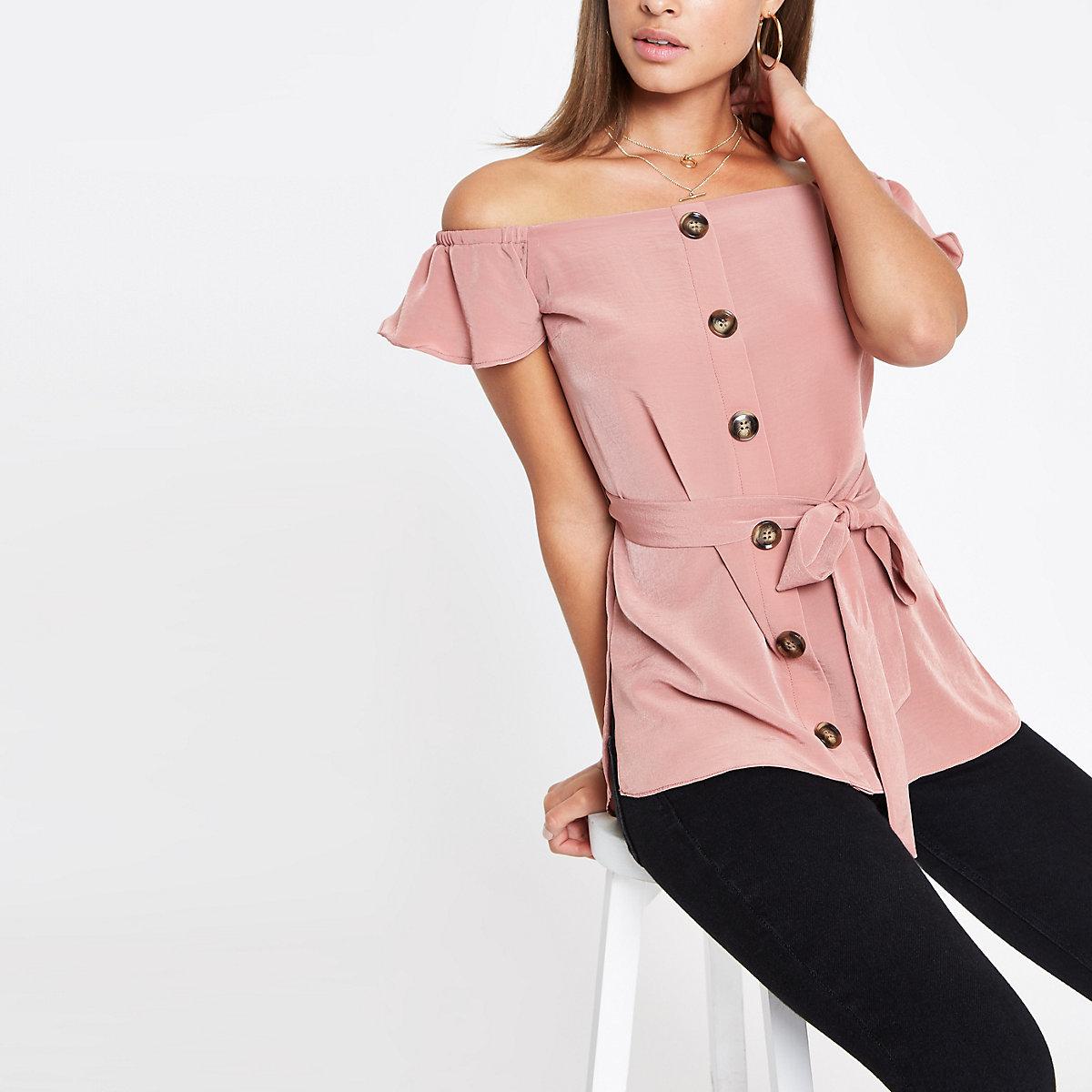 Pink bardot tie waist top