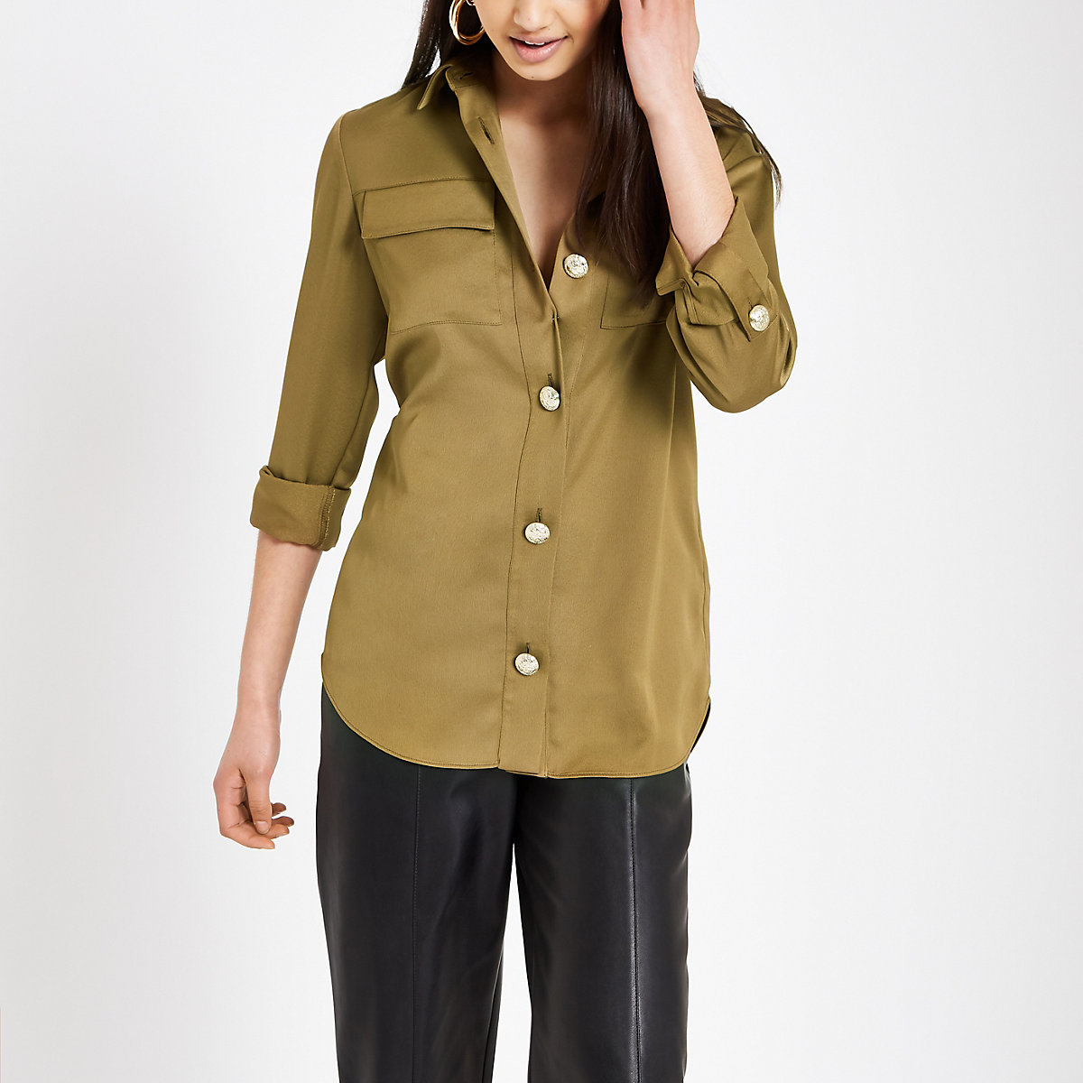 Khaki loose fit utility shirt