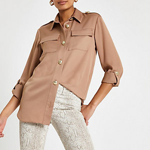 Light brown long sleeve utility shirt